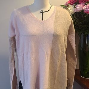 White + Warren Pink and Beige Cashmere Sweater
